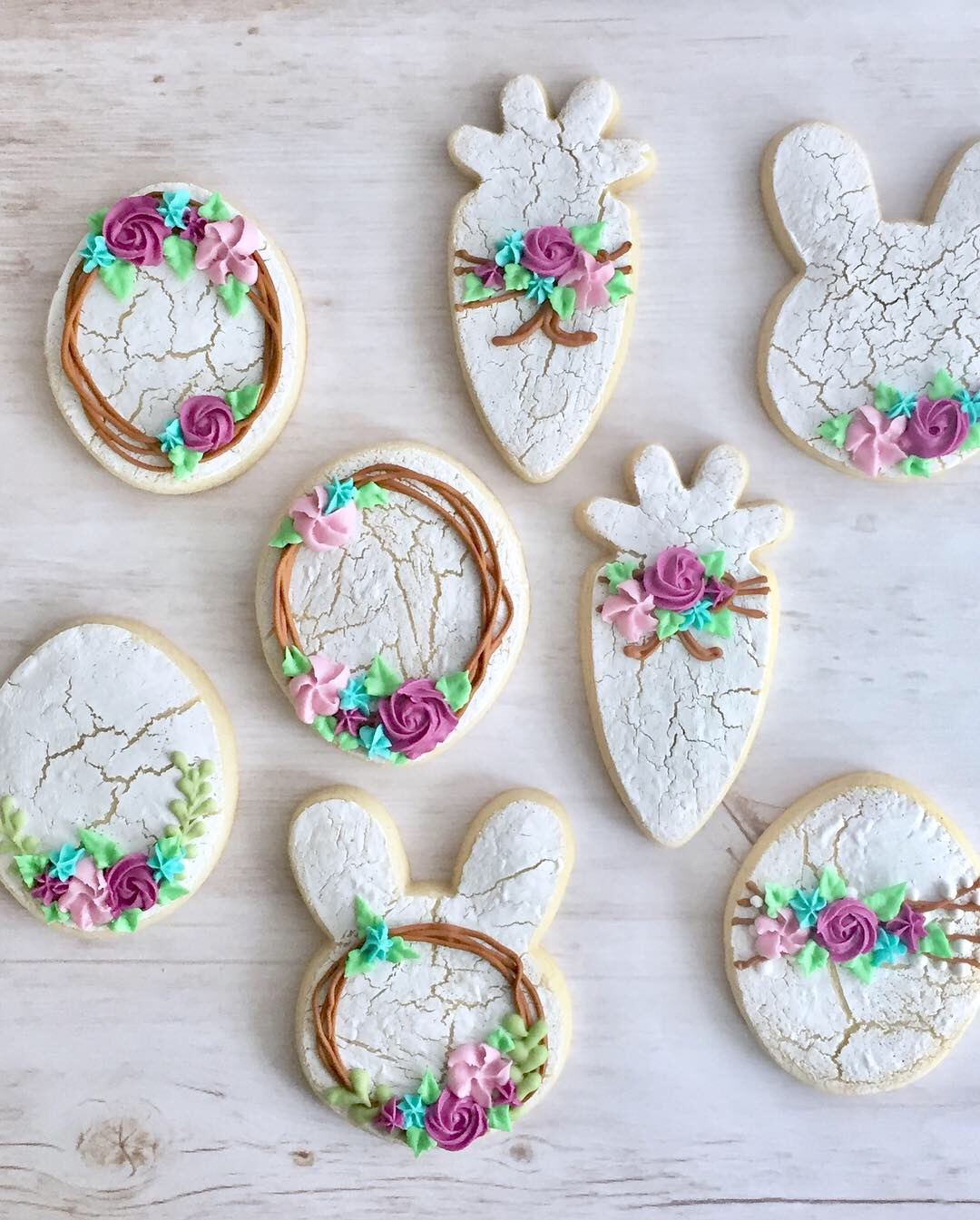 crackle finish spring cookies